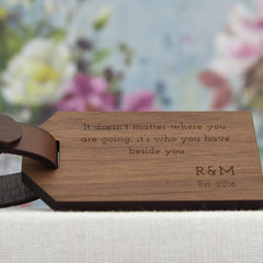 5 Year Anniversary Wood Luggage Tag with Quote