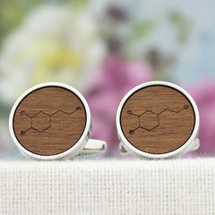 5 Year Anniversary Wood Dopamine Molecule Cuff Links