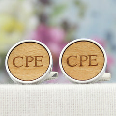 Wood Anniversary Cuff Links with Initials