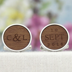 5th Anniversary Wood Cuff Links with Initials and Date