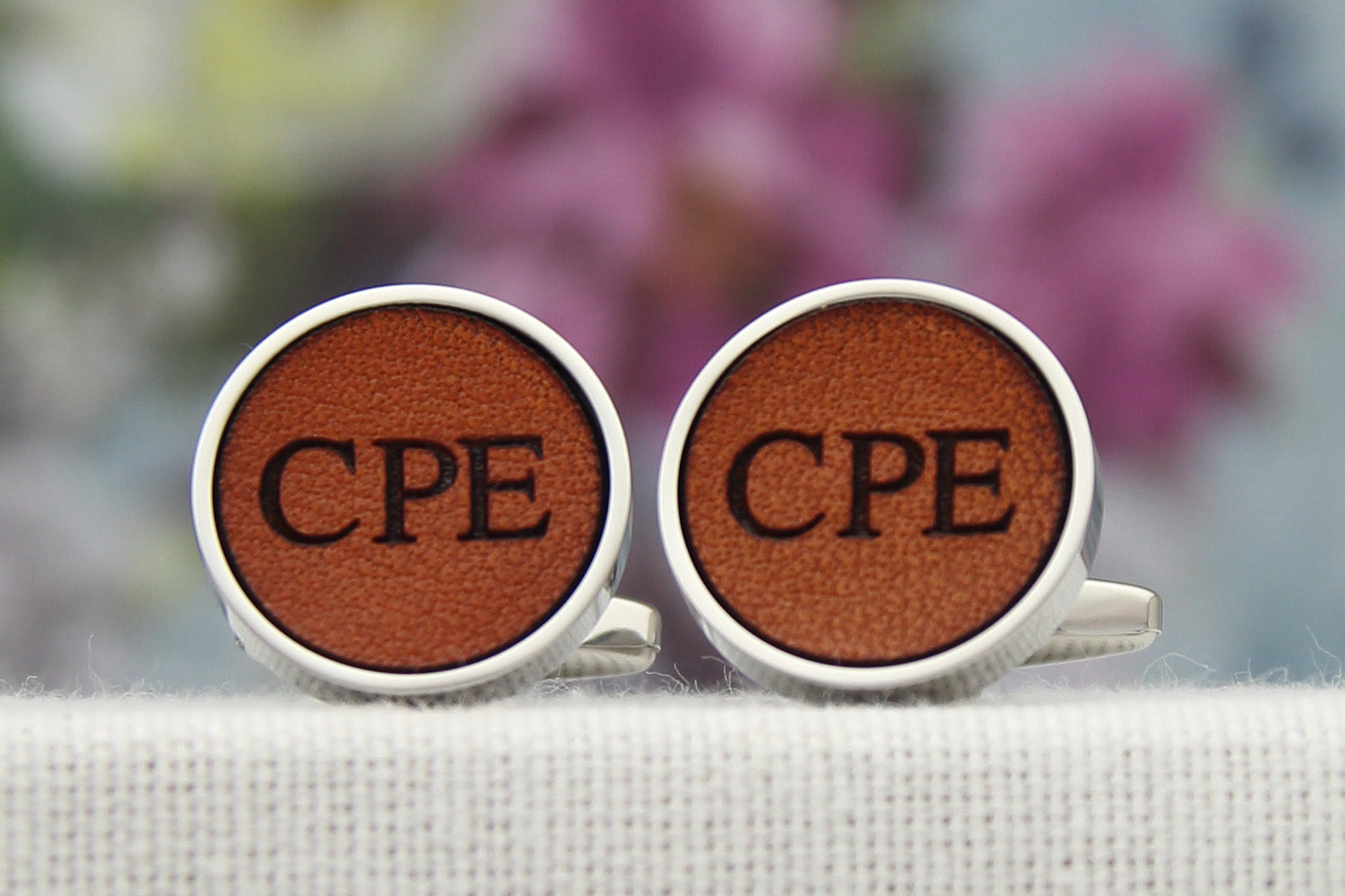 Personalised gift for him, leather cufflinks with his initials