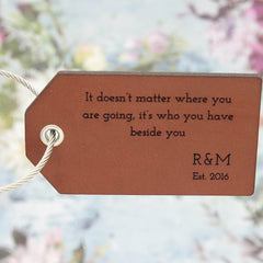 Personalised Leather Luggage Tag with Quote