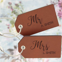 Leather Luggage Tags with Mr & Mrs personalisation
