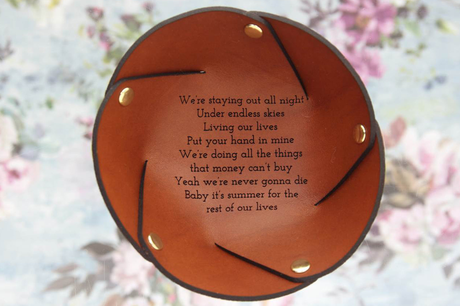 Personalised gift for her, leather ring dish with love song lyrics
