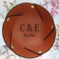 Leather Anniversary Ring Dish with Initials and Wedding Year