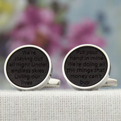 Whisper Love Song Leather Anniversary Cuff Links