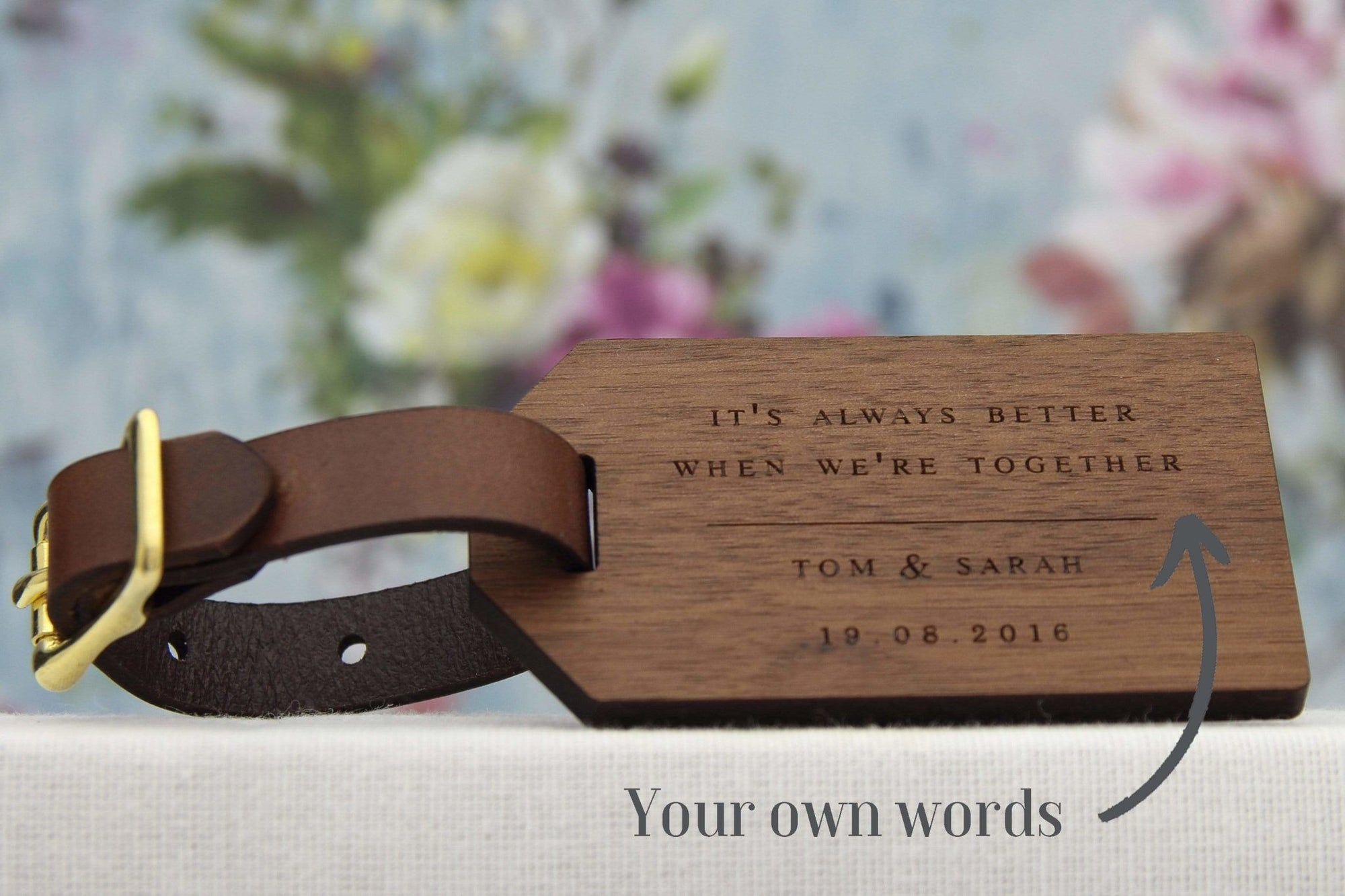Custom Wood Luggage Tag