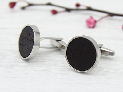 Leather Cufflinks with Adrenaline Molecule Engraved