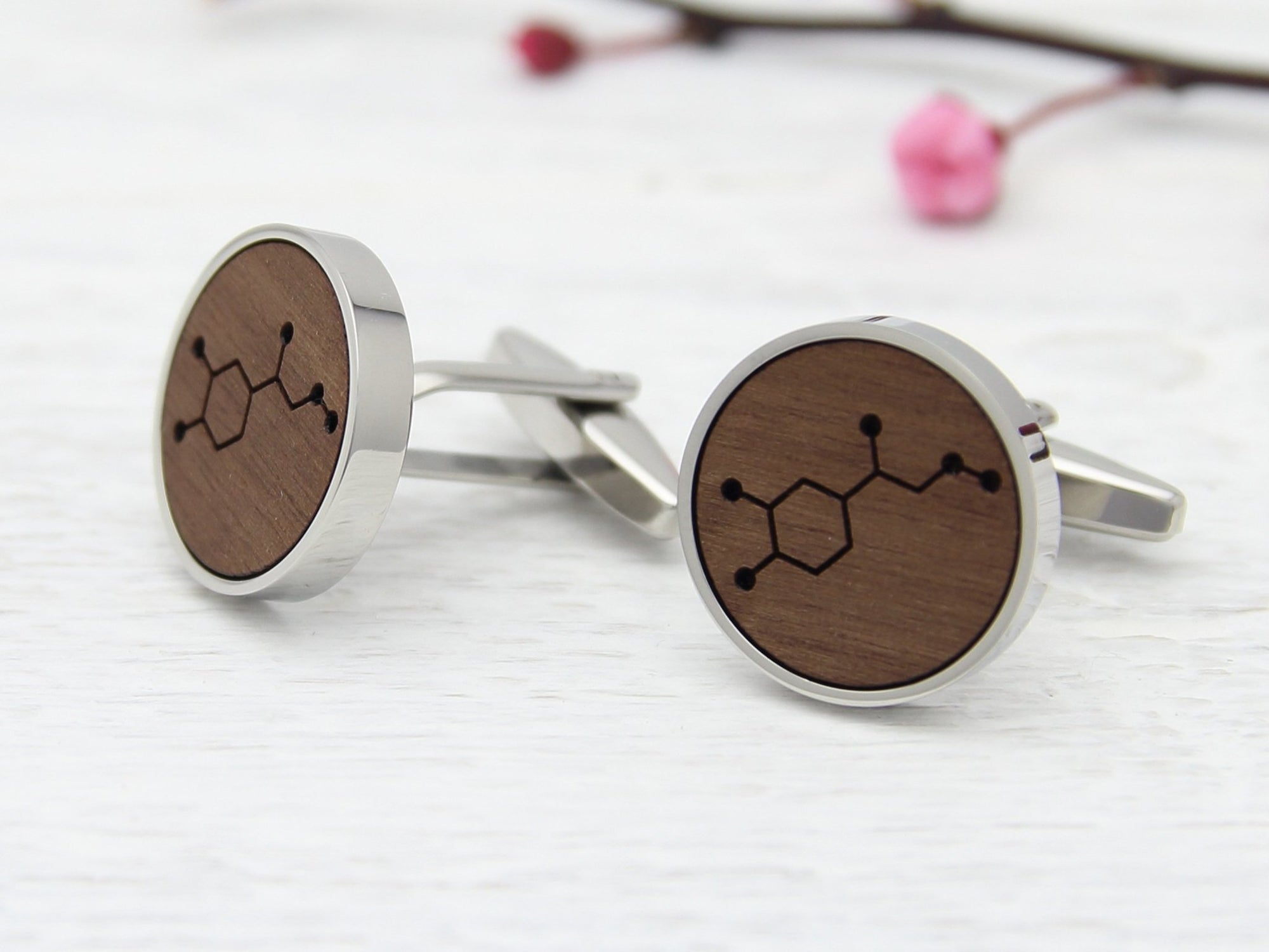 Walnut Wood Adrenaline Molecule Cufflinks