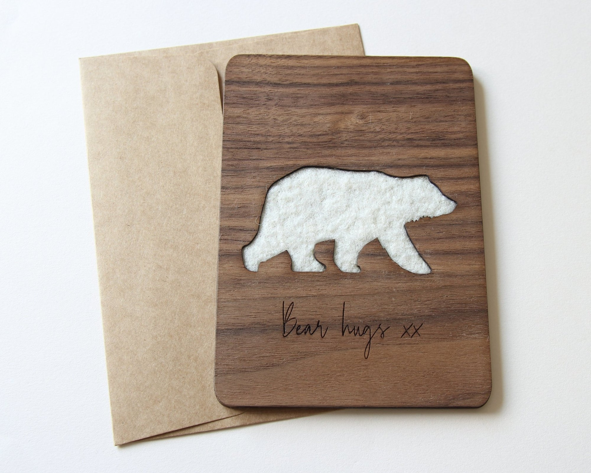 Bear hugs wood card front with wool detail.  Anniversary, birthday, long distance