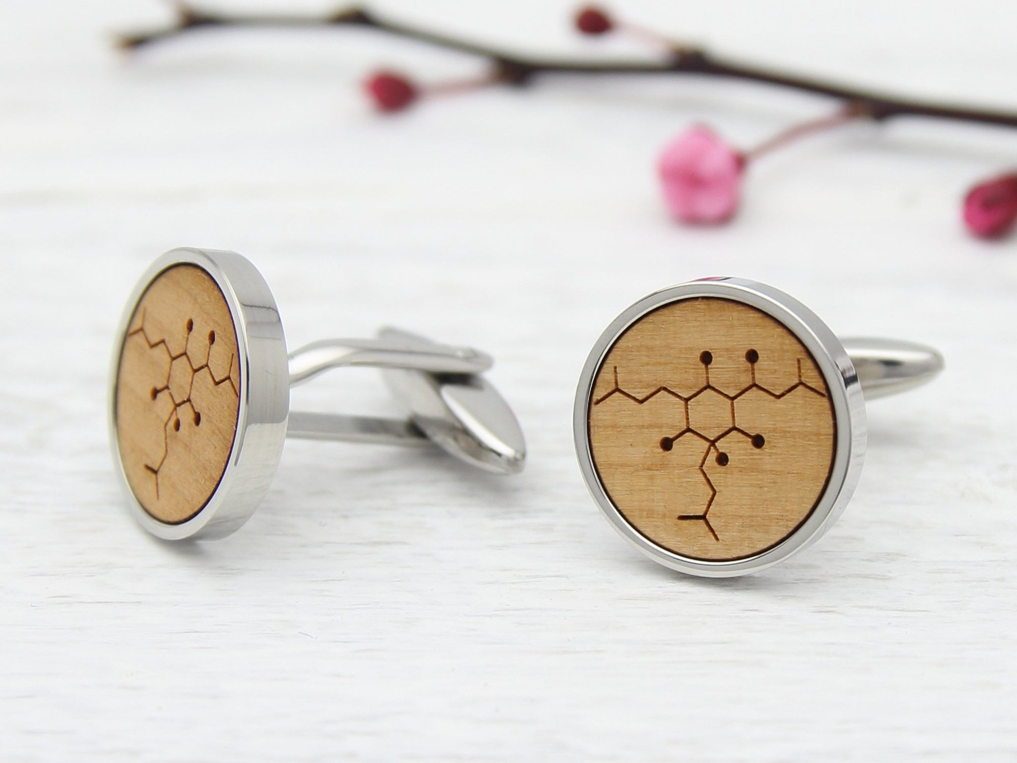 Cherry Wood Beer Cufflinks