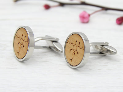Engraved Beer Molecule Cuff Links