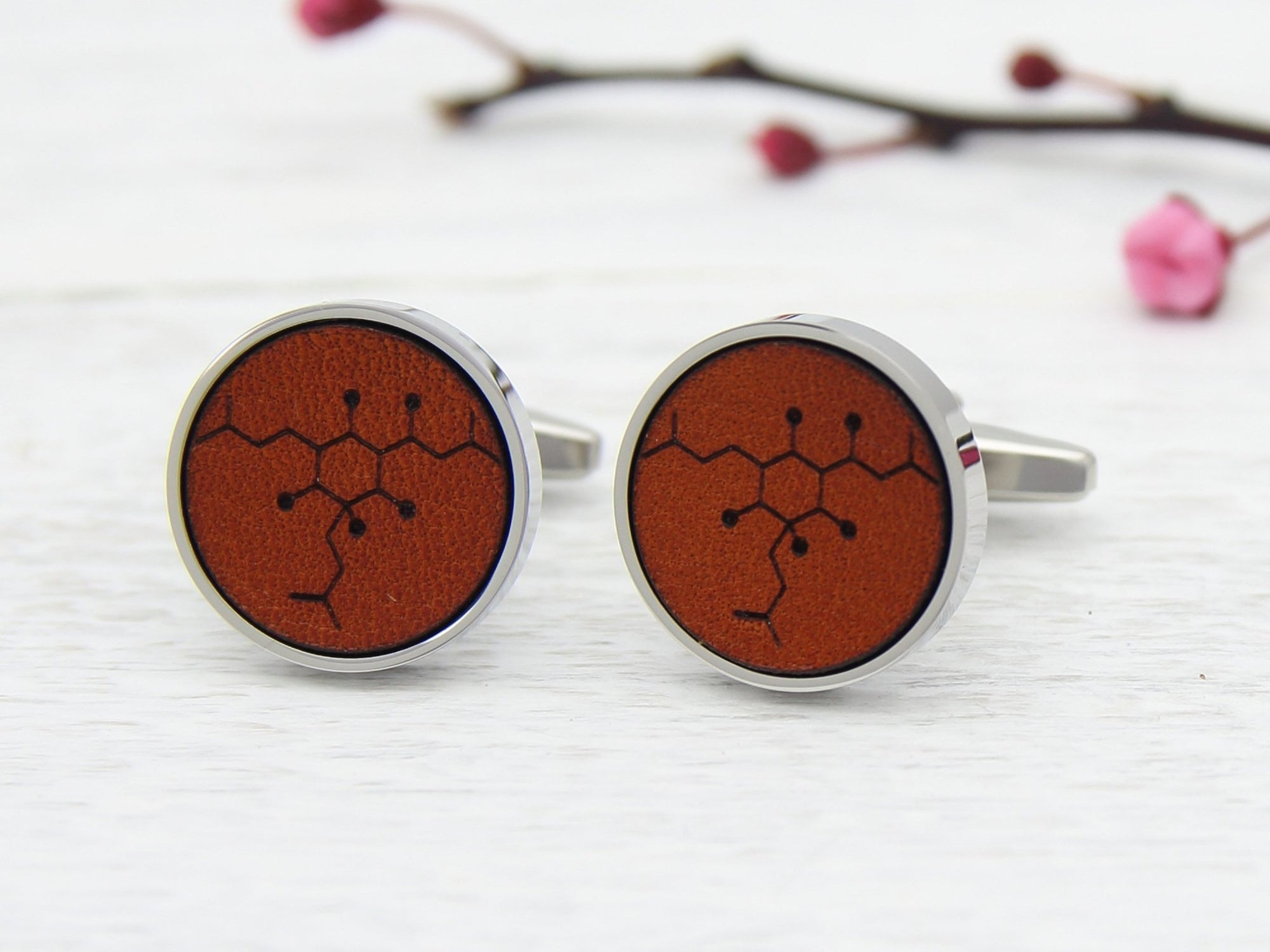 Beer Molecule Leather Cufflinks