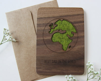 Wood card and envelope engraved with 'best dad in the world'