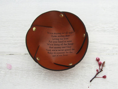 Leather coin tray with song lyrics for wedding or 3rd anniversary