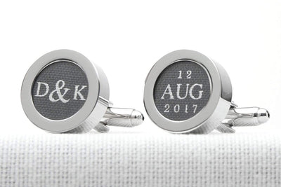 Customised cufflinks with Initials and Date printed on cotton for 2nd wedding anniversary