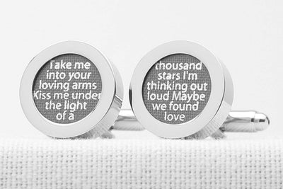 2nd wedding anniversary grey cotton song lyric cufflinks