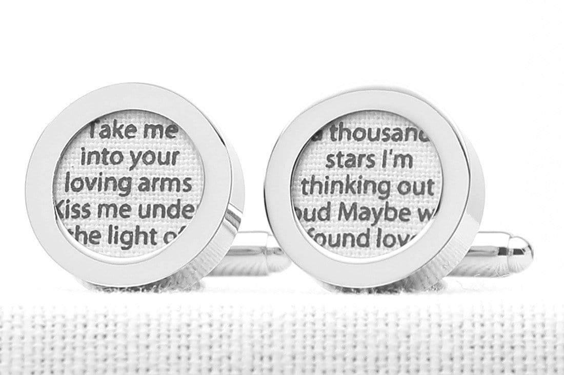 2nd wedding anniversary song lyrics cufflinks printed on white cotton