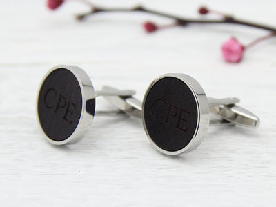 Leather Initials Customised Cufflinks from UK