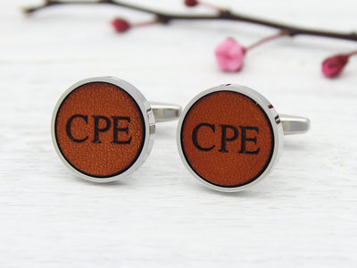 Cufflinks Personalised with His Initials in Leather