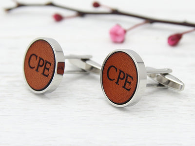Personalised Cufflinks Leather Initials