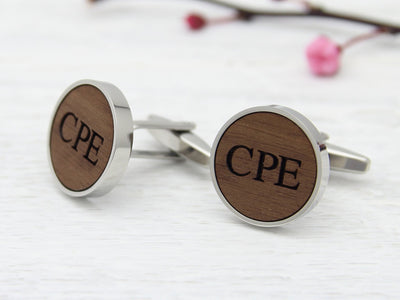 Initials Engraved in Wood Cufflinks