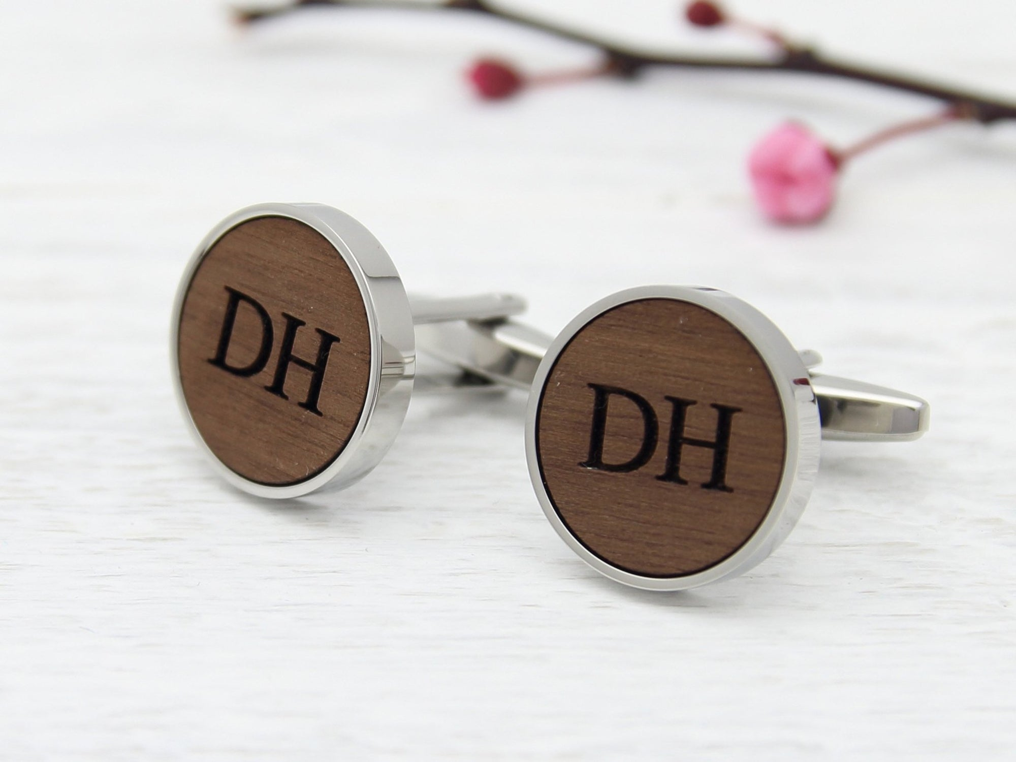 Personalised Cufflinks with His Initials Engraved in Wood