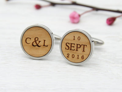 Wood engraved cufflinks for groom or 5th anniversary gift - initials and date