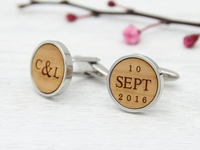 Date and initial cuff links engraved in wood