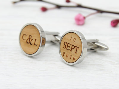 Initials and date wood engraved personalised cufflinks