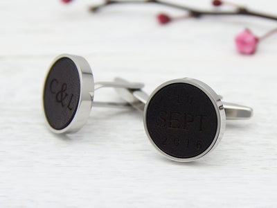 Initial and date leather engraved custom cuff links