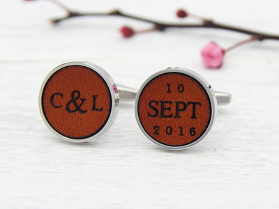 Personalised cufflinks with initials and date engraved in leather
