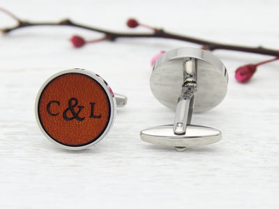 Leather customised cufflinks for 3rd wedding anniversary