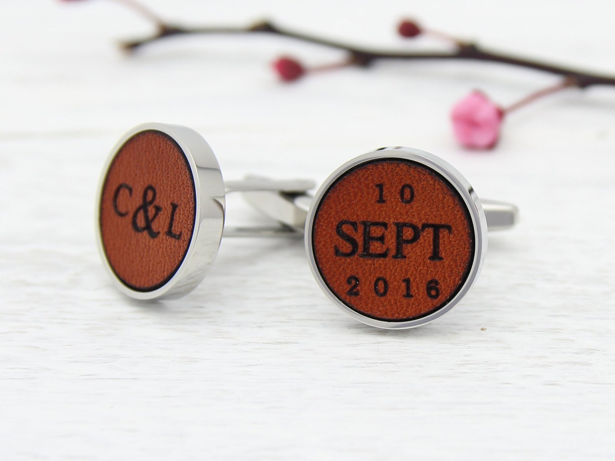 Leather Engraved Cufflinks with Initials and Date
