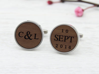Personalised cufflinks wood engraved with initials and date