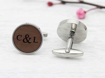 Initials and date custom wood cuff links for wedding or 5th anniversary