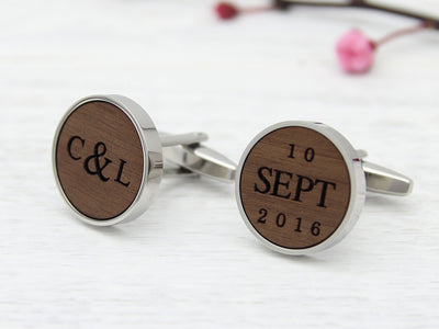 Wood customised cufflinks with initials and date