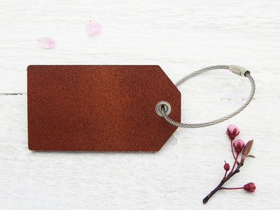 Leather luggage tag with plain back