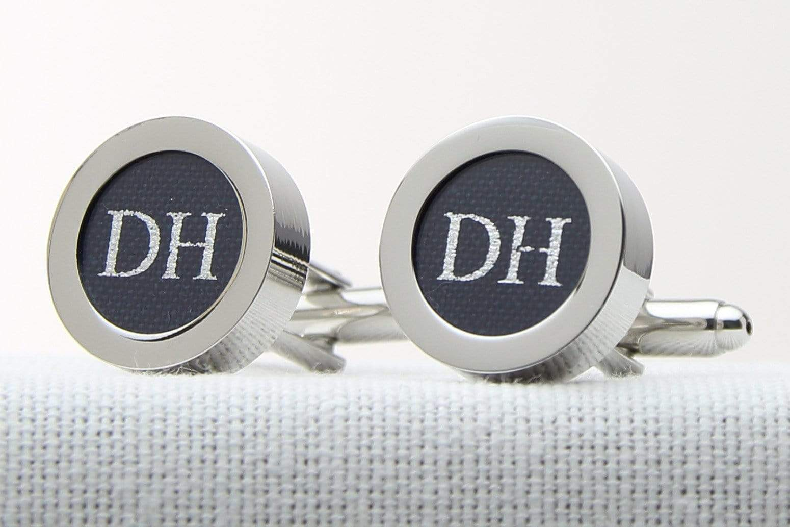 Navy Cotton Initial Cufflinks for 2nd Anniversary