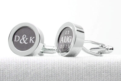 Cotton anniversary cufflinks with initials and date print