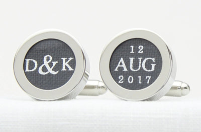 Initials and date linen cufflinks for 4th wedding anniversary