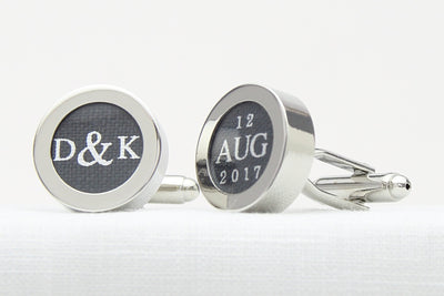 Personalised cufflinks with initials and date print on line for 4th anniversary