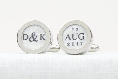 Linen anniversary custom cufflinks with initials and date