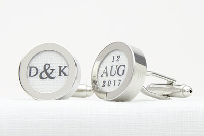 Linen customised cufflinks with initials and date
