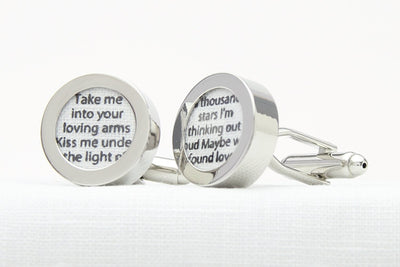 Personalised song lyrics cufflinks for 4th wedding anniversary