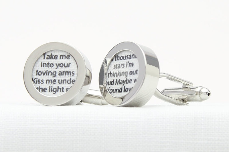 Customised cufflinks with song lyrics for 4th wedding anniversary