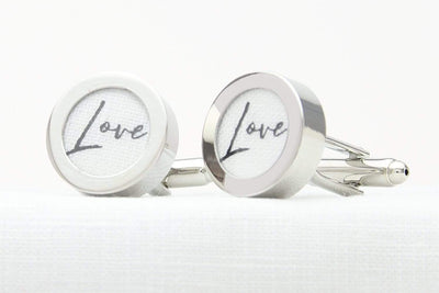 White linen Love print cufflinks for 4th wedding anniversary