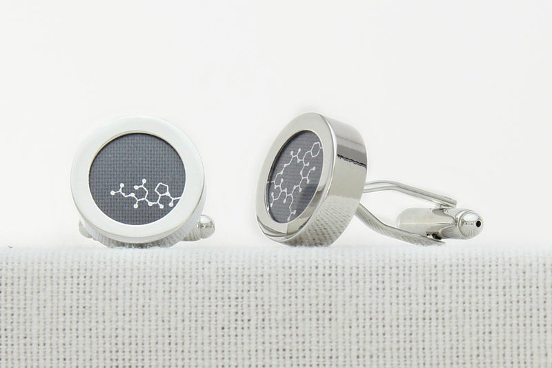 Oxytocin molecule cotton cufflinks for 2nd anniversary