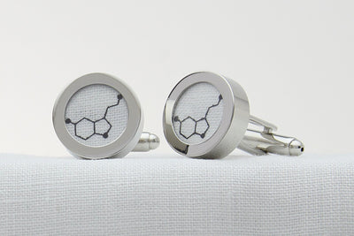 Linen Anniversary Gift for Him Cufflinks with Serotonin Molecule