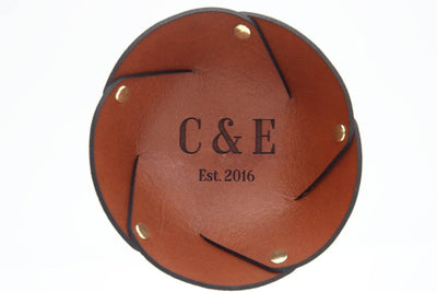 Initials and date personalised leather coin tray